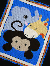 Crochet Patterns - SAFARI ANIMALS - Monkey/Elephant/Giraffe AFGHAN PATTERN