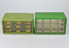 Pair Of Green Plastic Storage Parts Bin Cabinets Akro Mils Amp Denmark 9 12 Drawer