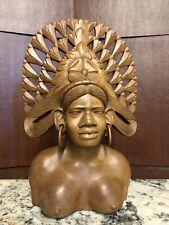 "African Tribal Female Nude Carved Wood  Sculpture Statue Figure 13.5"" Vintage?"