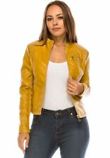 Women BLACK/ MUSTARD Faux leather jacket coat Zip Ci sono Cavalini New PUJK245