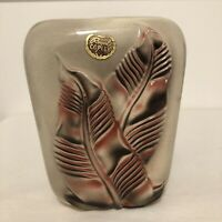 Vintage Mid Century Royal Copley Pottery Vase Pink Gray Leaves Leaf
