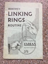 (H) Rare Vintage 1947 Magic Trick Book Burtini's Linking Rings By Fabian