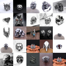 Men's Stainless Steel Silver Fashion Cool Gothic Punk Biker Finger Rings Jewelry
