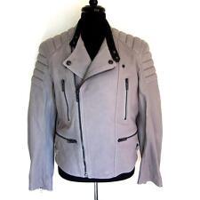 BURBERRY BRIT MEN'S Filkins Grey Leather biker's jacket RETAIL $2395, SMALL