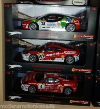 LOT OF 3 FERRARI F430 CHALLENGE RACECARS #4, #28, #102 1:18 by HOT WHEELS ELITE