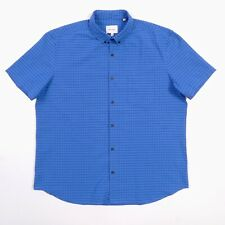 Steven Alan Shirt Mens 2XL Blue Grid S/S Upscale Made in USA NWT $158