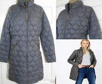 NEW M&S Stormwear Coat Womens Quilted Padded Down & Feather Dark Grey Size 8-22