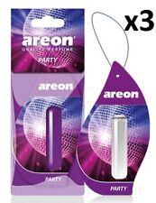 3 x Areon Liquid 5ml. Party Car Aroma Perfume Tree Air Freshener Fragrance Scent