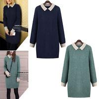 Women Ladies Casual Knit Top Dress Long Sleeve AU Size 14 16 18 20 22 24 #21021