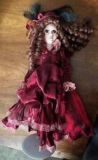 Victorian Porcelain Doll Curly Brown Hair Red Dress Samantha Damaged