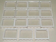 LEGO LOT OF 15 NEW WHITE 1 X 4 X 3 WINDOWS WITH GLASS TOWN CITY HOUSE PIECES