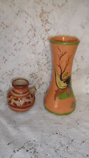 2 Vtg.40's/50's Hand Thrown Hand Painted Clay Pottery Vases~ Mexico~ Free Ship~