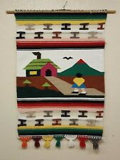 """Vintage Colorful Yarn Art Woven Tapestry Southwestern Wall Hanging - 46"""" x 30"""""""