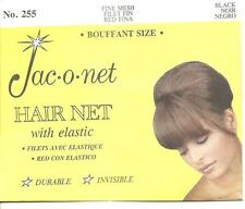 Jac O Net 255 Nylon Hair Net Bouffant SIZE with Elastic Fine Mesh black