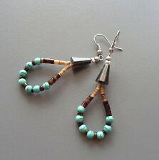 Boucles d'oreilles amérindiennes en turquoises et perles heishi rondelles nacre