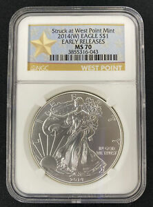 2014 W  American Silver Eagle  MS70 NGC Early Releases West Point Star ⭐️ Label