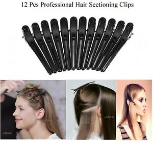 12 x BLACK HAIRDRESSER HAIRDRESSING SECTIONING HAIR CLIP 12 SALON CLAMP (NEW)