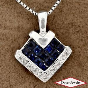 Estate Diamond Sapphire 18K Gold Heart Cluster Pendant NR