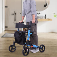 Folding Medical Rollator Walker, Foldable Compact Rolling Walker with Seat