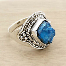 925 Sterling Silver Apatite Rough  Ring Size us 7.5  Handmade Silver Ring