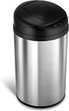 Ninestars Automatic Touchless Infrared Motion Sensor Trash Can 11 Gal. Round