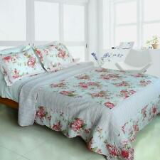 3 Pc Romantic Pink World 100% Cotton Vermicelli Queen Quilt Shams rose floral