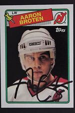 AARON BROTEN New Jersey Devils Autograph 1988 Topps #138 Signed Card JSA 16H