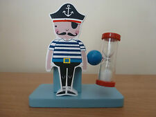 Gisela Graham Pirate Wooden Tooth Brush Holder and Timer (Christening) 11.5cm
