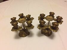 Pair Small Vintage Brass 5 Arm Candlesticks Candle Holders Flower Design