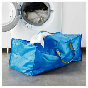 IKEA FRAKTA Large Blue Zipped 76L Plastic Trunk Bag - Shopping Laundry Storage