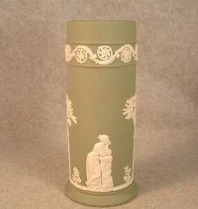 "Vintage Wedgwood Made In England Sage Green Jasperware 6.5"" Spills Vase"