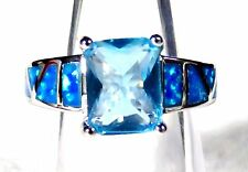 Sterling 925 Silver SF Size 7 Ring Blue Lab Fire Opal & 9*7mm Aquamarine Gem