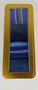 Calvin klein socks mens GIFT SET IN GOLD TIN 4 PAIRS CREW SOCKS BLUE ONE SIZE