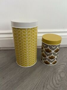 ORLA KIELY HOUSE STORAGE CONTAINER CANISTER TINS X 2 SCANDI STYLE STEM - NEW