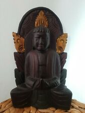 Wood carved  Buddah Home Decor Gift Ornament Brown Gold spiritual