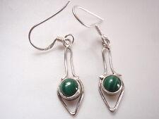 Very Small Malachite Arrows 925 Sterling Silver Dangle Earrings