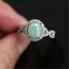 Women Lady White Fire Opal Jewelry Charm Gems 925 Silver Ring Size 6/7/8/9/10