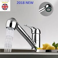 Modern Mono Kitchen Mixer Tap Pull Out Handheld Spray Round Single Lever Chrome