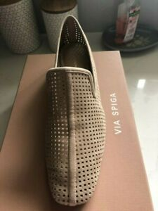 VIA SPIGA NUDE SUEDE LEATHER BALLET FLATS SIZE 39 BRAND NEW IN BOX FROM USA