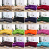 Living Room Universal Stretch Elastic L Shaped Sofa Cover Solid Color 1-4Seater