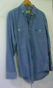 NEW Vintage DUCK HEAD Blue Cotton Chambray Lng Slv Shirt Top M Med 15.5 x 33 USA