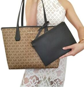 Michael Kors Candy Large Reversible Tote with Detachable Pouch - Beige / Black