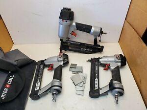 Set 3 Porter Cable Pneumatic Air Finish/Brad Nailer & narrow-crown stapler