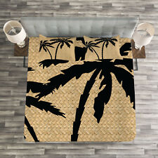 Tropical Quilted Bedspread & Pillow Shams Set, Palm Tree Silhouettes Print