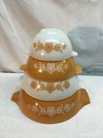 Mid Century  Pyrex BUTTERFLY GOLD Cinderella Tab Nesting Mixing Bowl Set of 4