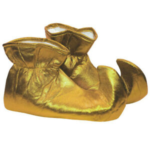 Gold Elf Shoes Shiny Cloth Costume Christmas Xmas Jester Pointy Adult Helper
