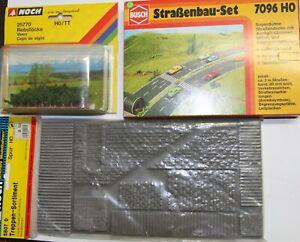 Busch, Noch 3 Artikel 25770 Rebstöcke, 5807 0 Treppensort., 7096 Strassenbau-Set