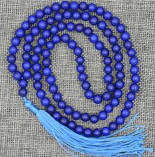 Natural 8mm stone Buddhist Blue Sapphire 108 Prayer Beads Mala Bracelet Necklace