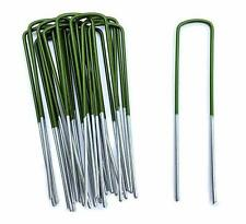More details for artificial grass pegs half green u pins galvanised steel pegs membrane fabric uk