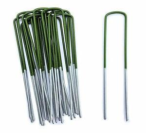 Artificial Grass Pegs Half Green U Pins Galvanised Steel Pegs Membrane Fabric UK